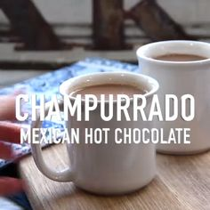 Champurrado is a delicious Mexican hot chocolate thickened with masa harina and served hot! Authentic Mexican Recipes, Mexican Chicken Recipes, Mexican Easy, Chocolate Videos, Hot Chocolate Recipes, Chocolate Cupcakes, Vegan Quesadilla, Mexican Champurrado Recipe, Kitchens