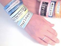 Affirmation bracelets- kids art therapy group (7-10y/o boys and girls). Typed and printed words as well as stamped words.