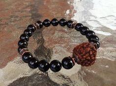 8mm Black Onyx Rudraksha Wrist Mala Beads Healing Bracelet - Blessed K – AwakenYourKundalini