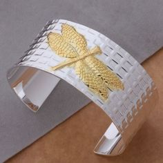 As153 Free Shippng Fashion Golden Dragonfly Style Solid Silver Bangle + Gift Bag