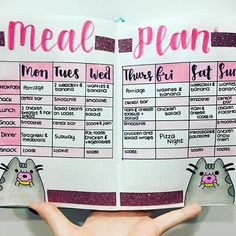 Bullet journal meal plan! I have a pusheen theme for this week can you tell? I used crayola supertips for the calligraphy, crayola pencils to colour in the meal plan and pusheens and my handwriting I use papermate flair :) . . . . . . . #mealplan #mealplanning #bulletjournal #bulletjournaling #bujo #bujomealplan #bulletjournalmealplan