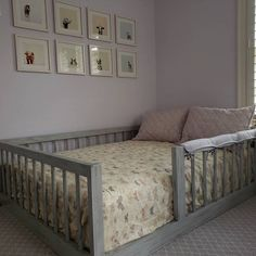 Levantado CUATRO Rail Hardwood Montessori Twin, Full, Toddler House Bed Frame with Legs Made in USA Hardwood - Izzy's Bedroom Makeover - Toddler Floor Bed, Toddler House Bed, Diy Toddler Bed, Toddler Rooms, Full Size Toddler Bed, Floor Beds For Toddlers, Kids House, Floor Bed Frame, Raised Bed Frame