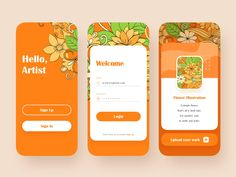 This is an artist's application, a conceptual design where artists can share your illustrations about flowers. A large area of orange was used, which was inspired by Van Gogh's Sunflowers. In add. Flat Web Design, App Ui Design, Interface Design, User Interface, Application Ui Design, Ui Design Mobile, Web Layout, Design Layouts, Website Layout