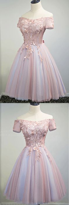 cute tulle off shoulder prom dress, short prom dress for teens