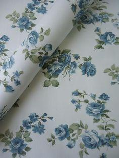 Tecido Adesivo Floral Bege e Azul