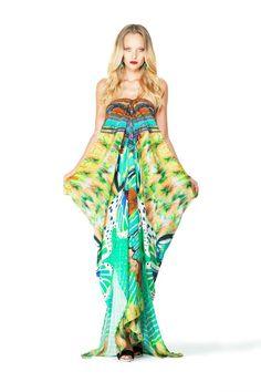 Shahida Paredis Embellished Long Lace Up Kaftan in Avatar Aqua $469