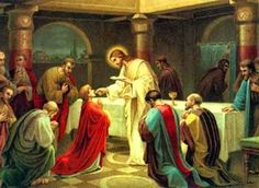 Holy Thirsday - the Thursday before Easter Catholics celebrate the Last Supper at Holy Mass. The priest celebrant washes the feet of 12 men from the parish. The Passion is read from the bible. (Read link)
