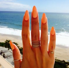 Perfect peach nails by @nikki_makeup  - almond long natural nails polish