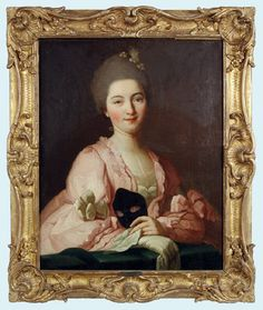Portrait of a lady with a masquerade mask by Francois Hubert Drouais, c. mid 18th century