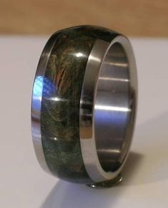 Titanium Wood Ring Green Maple Burl Wooden Band Mens by usajewelry, $185.00