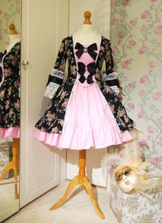 French Rococo Classic Lolita Dress for Women. Made in sizes 8 to 18 Pink roses on black Fabric. Marie Antoinette, Pirate, Bridesmaid dress. on Etsy, $214.29 CAD