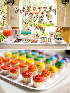 Rainbow UP Inspired First Birthday Party: Colorful cupcakes = perfect for the balloon festival! Rainbow First Birthday, Baby First Birthday, First Birthday Parties, First Birthdays, Birthday Ideas, Rainbow Desserts, Rainbow Food, Rainbow Stuff, Rainbow Cupcakes