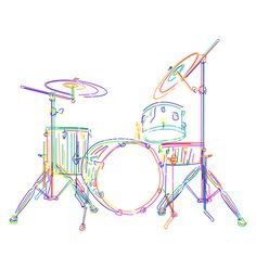 Graphic drums kit over white background. Musical Instruments illustration by Lirch. Drums Wallpaper, Wallpaper Space, Drummer Tattoo, Astronaut Drawing, Drums Art, Music Drawings, Music Illustration, Music Tattoos, Drum Kits