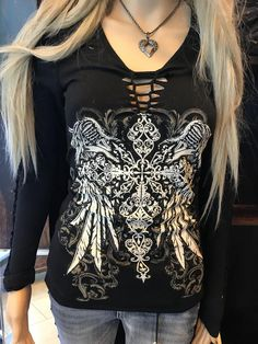 Wings of Faith Top – Persepolis Biker Chick Style, Leather Jacket With Hood, Refashion, V Neck Tee, Black Suede, Cute Outfits, Clothes For Women, Long Sleeve, Biker Fashion