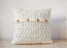Chunky knitted cushion lines pattern pillow cover by pillowlink
