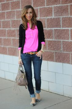 bright button down? looks really good with a black cardigan. color me inspired.