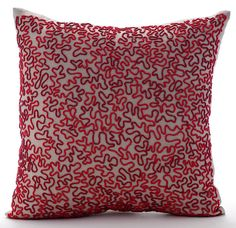 Blooming Maze - Red bead embroidered Mocha Linen Throw Pillow Cover. Buy Now!