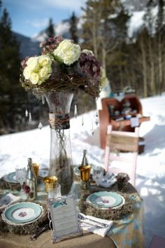 Love the vase idea with the branches, flowers and crystals.. Now it just needs some candles!