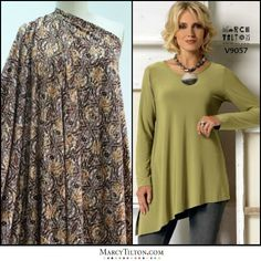 The Crosscut Knit is a stunning graphic geometric print, in warm toned shades of brown and gold. It's etched w/black, on a white base. A top quality, viscose/elastane jersey knit. With a liquid drape, it's a light weight knit that's perfect for a T-shirt, top, tunic, skirt, or dress (pictured w/my T-shirt for Vogue, V9057). http://marcytilton.com/products/crosscut-knit