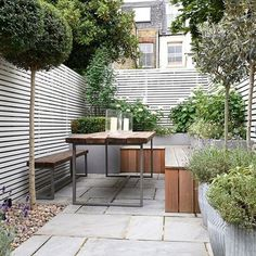 Small Patio Garden with Wooden Bench                                                                                                                                                                                 More