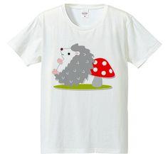 ハリネズミとキノコ : BLAZE JAPAN [フライスTシャツ] - デザインTシャツマーケット/Hoimi(ホイミ)