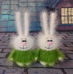 Bunny in green sweater - Amigurumi Toy Miniature Animals Rabbit - Stuffed Toys Rabbits plush bunny toy white rabbit - Easter finds Rabbit Toys, Bunny Toys, Bunny Plush, Bunnies, Crochet Amigurumi, Amigurumi Toys, Crochet Toys, Knitting Toys, Knitting Patterns