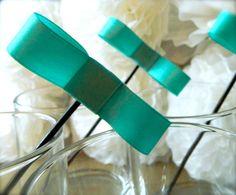 Tiffany & Co Blue Bow Tie Drink Stirrers Cupcake by LittleAndLa, $6.00