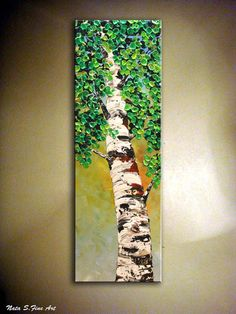 Original Art  Birch Tree Painting.Modern Textured by NataSgallery, $220.00