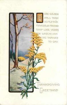 Thanksgiving~Art Deco~Bare Tree~Autumn Goldenrod~Friendship~Emboss~Whitney Made | eBay