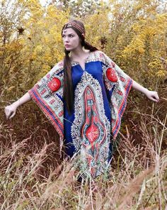 Tunic Dress in Blue and Red - I may never wear this, but I love imagining I have the personality to pull it off