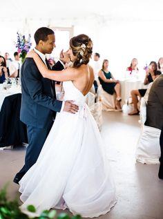 Bride and Groom dancing in tent