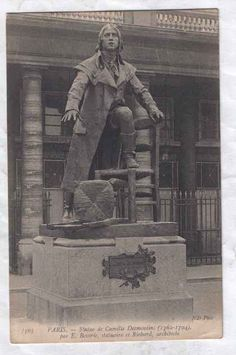 Vintage image of a statue of Camille Desmoulins that no longer exists in Paris (it was destroyed in 1942). It commemorated his role in inciting the mob that later stormed the Bastille prison. This Day in History: Jul 12, 1789: Journalist Camille Desmoulins calls French citizens to arms which leads to the Storming of the Bastille.