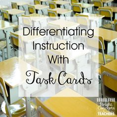 I LOVE using task cards in my classroom!! They provide such a versatile way to review skills quickly and in a meaningful way. My students love to grab a set of cards and a recording sheet. Sometimes they work with a partner. Sometimes they work independently. No matter how they are being used, the kids are engaged and learning! Grab a FREEBIE to see if this technique will work with your students. Go to: http://www.brightconcepts4teachers.com/2016/02/differentiating-instruction-with-task.html