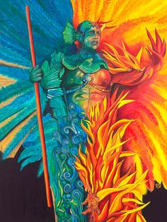 Giclee Print Artist Enhanced - Fire and Water Carnival Figure