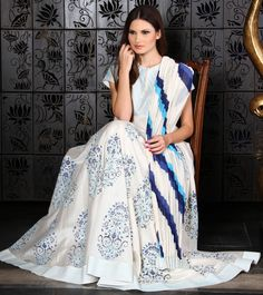 Blue & White Chanderi Anarkali Suit with Block Print