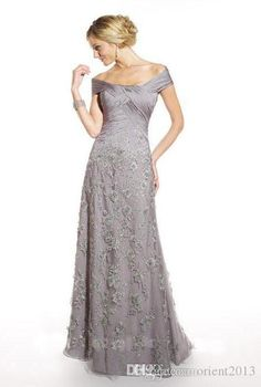 Wholesale Silver Elegant Off The Shoulder Lace Floral Long Formal Mother Of The Bride Evening Dress Gowns, Free shipping, $131.94/Piece | DHgate Mobile