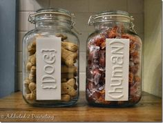 Painted Label Treat Jars | October 6, 2011  I like this idea for my pantry DIYs