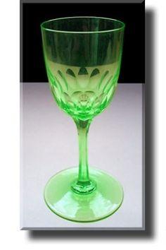 Vaseline Glass / Uranium Glass Cut Wine Glass - English - 19th Century