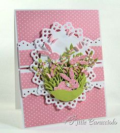 impression obsession bunny die card ideas | cut and attached the cross sections to the card base with mounting ...