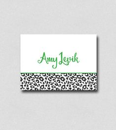 personalized folded note cards leopard print note card holiday gifts christmas gift note card - Custom Folded Note Cards
