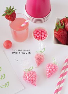 DIY Strawberry Sprinkle Party Favors | http://www.designeatrepeat.com/2014/04/diy-strawberry-sprinkle-party-favors/