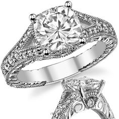 Antique Split Shank Cushion Moissanite Engagement Ring - 1.1 ct is $955 and I would want 14k white gold.