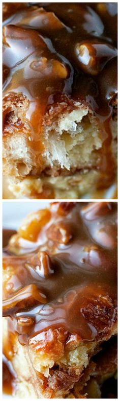 Croissant Bread Pudding with Pecan Toffee Sauce ~ Insanely good Uses bakery croissants and amaretto Bread Pudding With Croissants, Croissant Bread, Bread Puddings, Just Desserts, Delicious Desserts, Yummy Food, Jell O, Mole, Scones