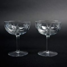 Morgantown Crystal Champagne Coupe Glasses, Star of Bethlehem Cutting #121, Set of 2