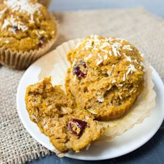 Sweet Potato Cranberry Coconut Muffins -  a light, fluffy, delicious, and healthy snack or breakfast idea.