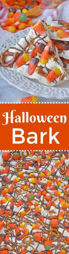 Halloween Bark is a sweet and salty bark. The easiest no bake, make ahead and in large quantities Halloween dessert out there! #halloweendesserts #howtomakebark www.savoryexperiments.com via @savorycooking