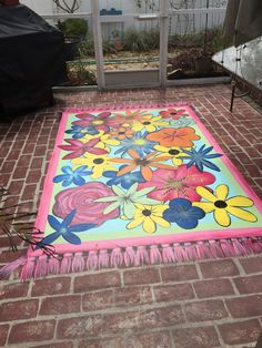 Painted rug on concrete patio Painted rug on concrete patio Painted Porch Floors, Painted Floor Cloths, Porch Flooring, Painted Rug, Stenciled Floor, Deck Rug, Patio Rugs, Outdoor Rugs, Porch Rugs