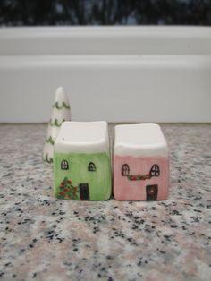 Christmas Pottery houses,Little Ceramic Christmas village,2 tiny Houses and a tree,Offtice decor,Gift,Shelf village,Christmas Decoration by TatjanaCeramics on Etsy