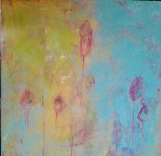 liz doyle orchids canvas 3 oil & cwm on canvas 80cm sq