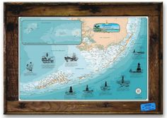Lobster Trap Framed Florida Keys Lighthouses Chart from Sealake Products LLC #rusticdecor #rusticpictureframe